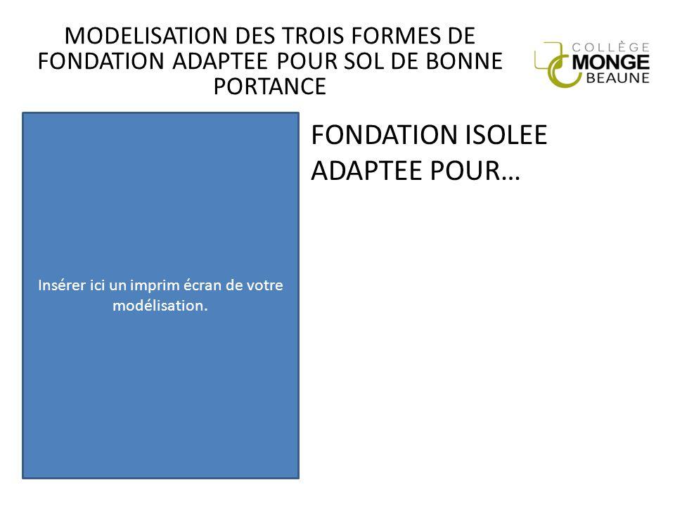 MODELISATION DES TROIS FORMES DE FONDATION ADAPTEE POUR SOL DE BONNE PORTANCE FONDATION ISOLEE ADAPTEE POUR… Insérer ici un imprim écran de votre modé