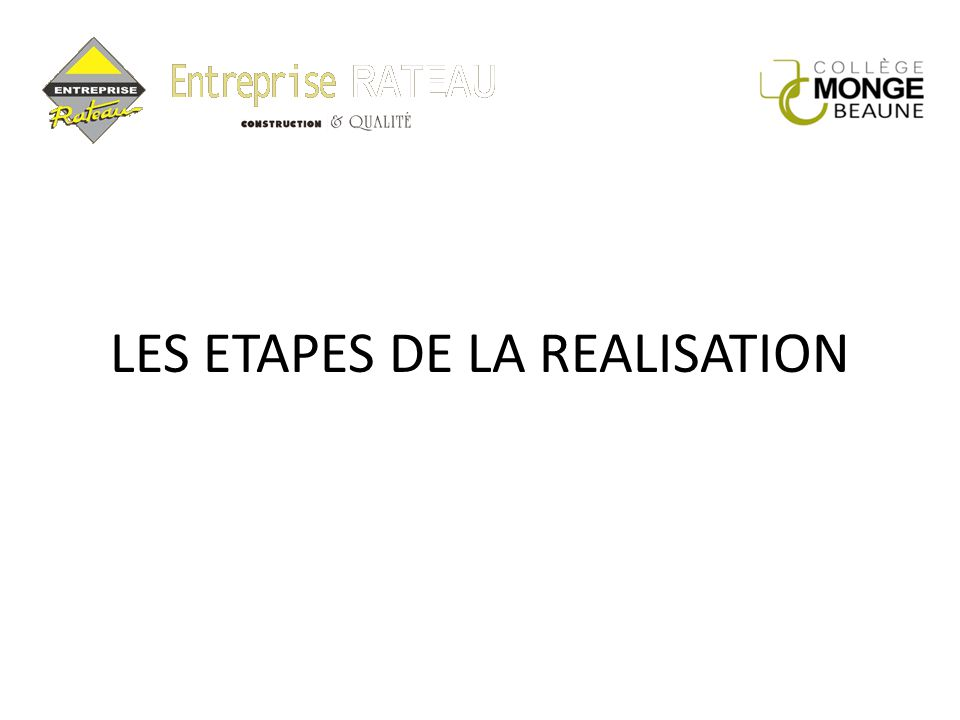 LES ETAPES DE LA REALISATION