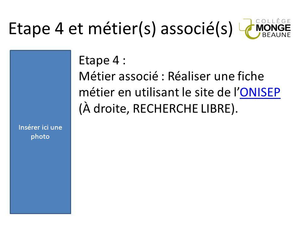 Etape 4 et métier(s) associé(s) Etape 4 : Métier associé : Réaliser une fiche métier en utilisant le site de l'ONISEPONISEP (À droite, RECHERCHE LIBRE