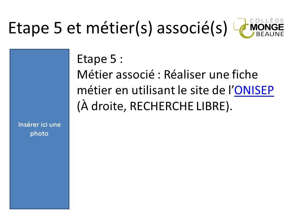 Etape 5 et métier(s) associé(s) Etape 5 : Métier associé : Réaliser une fiche métier en utilisant le site de l'ONISEPONISEP (À droite, RECHERCHE LIBRE