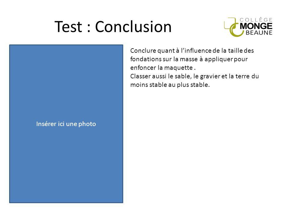 Test : Conclusion Insérer ici une photo Conclure quant à l'influence de la taille des fondations sur la masse à appliquer pour enfoncer la maquette. C