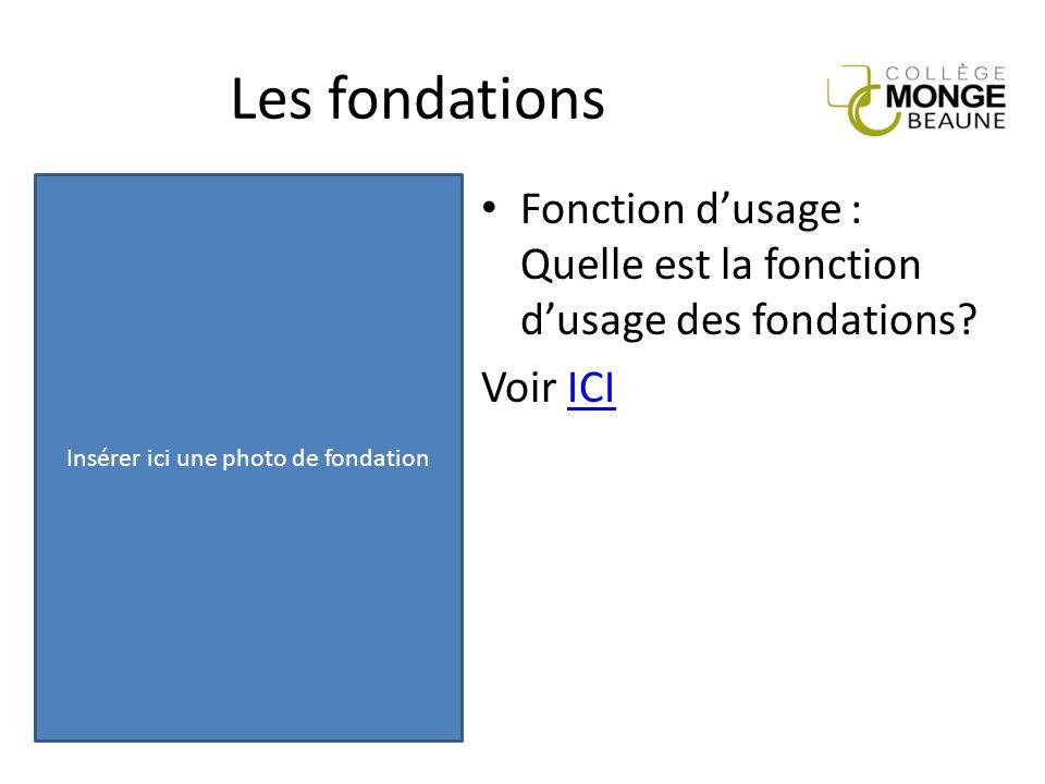 Fonction d'usage : Quelle est la fonction d'usage des fondations? Voir ICIICI Les fondations Insérer ici une photo de fondation