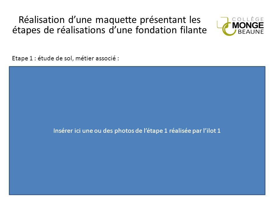 Réalisation d'une maquette présentant les étapes de réalisations d'une fondation filante Insérer ici une ou des photos de l'étape 1 réalisée par l'ilo