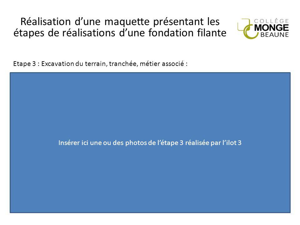 Réalisation d'une maquette présentant les étapes de réalisations d'une fondation filante Insérer ici une ou des photos de l'étape 3 réalisée par l'ilo