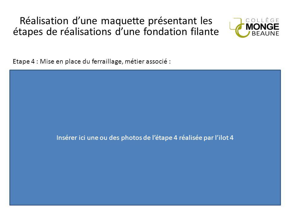 Réalisation d'une maquette présentant les étapes de réalisations d'une fondation filante Insérer ici une ou des photos de l'étape 4 réalisée par l'ilo