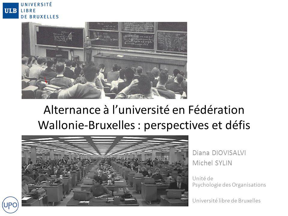 Alternance à l'université en Fédération Wallonie-Bruxelles : perspectives et défis Diana DIOVISALVI Michel SYLIN Unité de Psychologie des Organisations Université libre de Bruxelles
