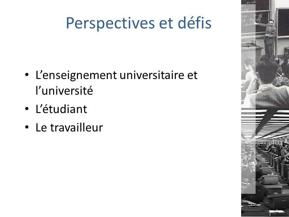 Perspectives et défis L'enseignement universitaire et l'université L'étudiant Le travailleur
