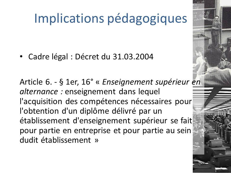 Implications pédagogiques Cadre légal : Décret du 31.03.2004 Article 6.