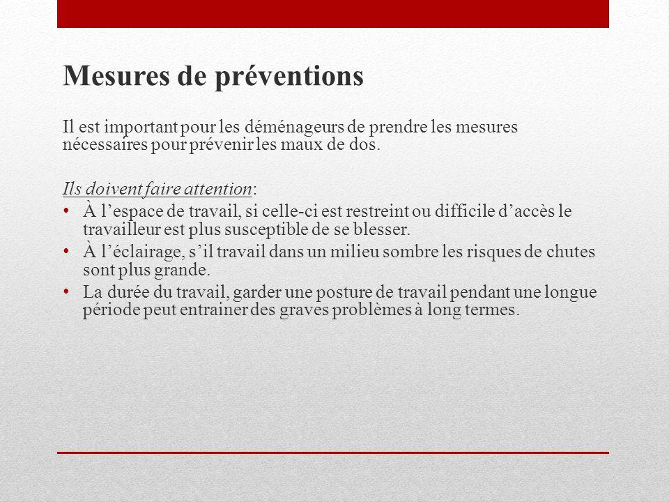 Mesures de préventions Il est important pour les déménageurs de prendre les mesures nécessaires pour prévenir les maux de dos. Ils doivent faire atten