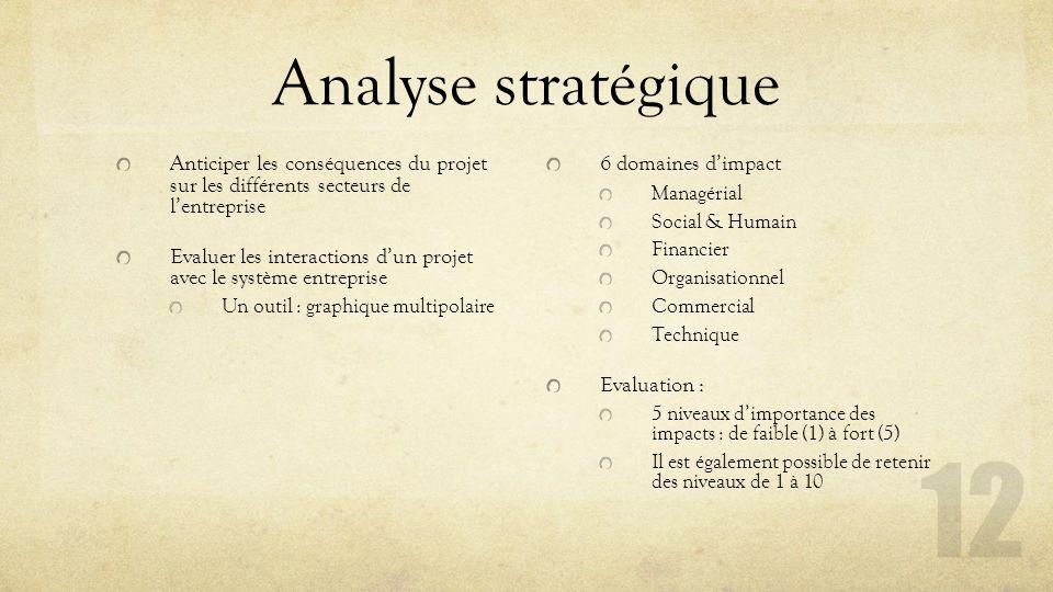 Analyse stratégique Anticiper les conséquences du projet sur les différents secteurs de l'entreprise Evaluer les interactions d'un projet avec le syst