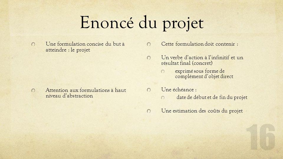 Enoncé du projet Une formulation concise du but à atteindre : le projet Attention aux formulations à haut niveau d'abstraction Cette formulation doit