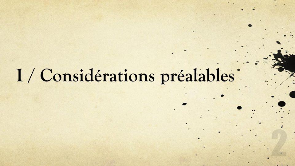 I / Considérations préalables 2