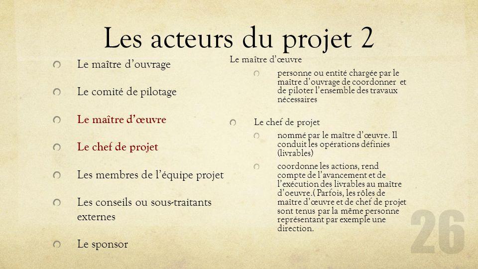Les acteurs du projet 2 Le maître d'ouvrage Le comité de pilotage Le maître d'œuvre Le chef de projet Les membres de l'équipe projet Les conseils ou s