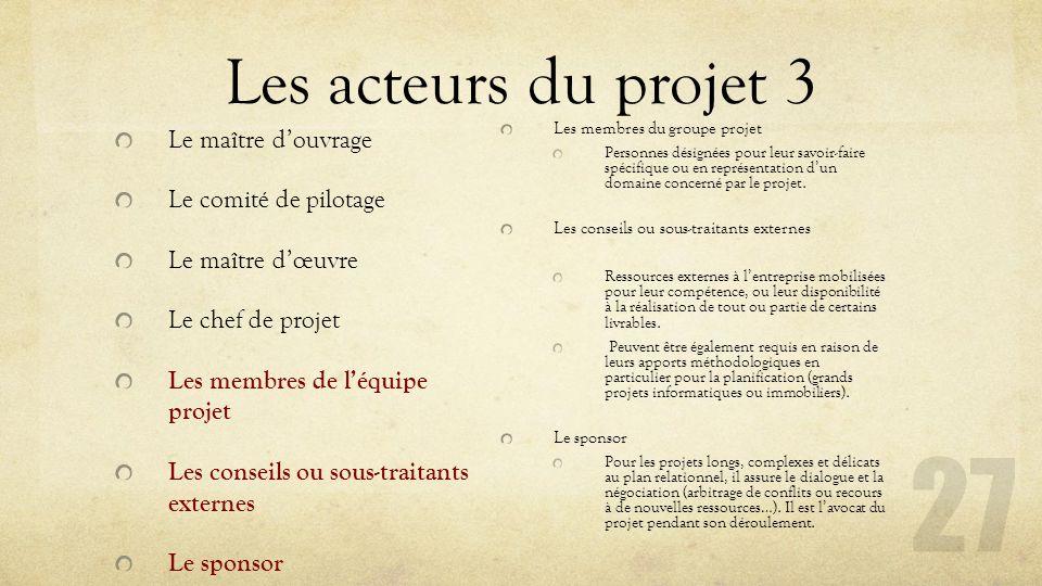 Les acteurs du projet 3 Le maître d'ouvrage Le comité de pilotage Le maître d'œuvre Le chef de projet Les membres de l'équipe projet Les conseils ou s