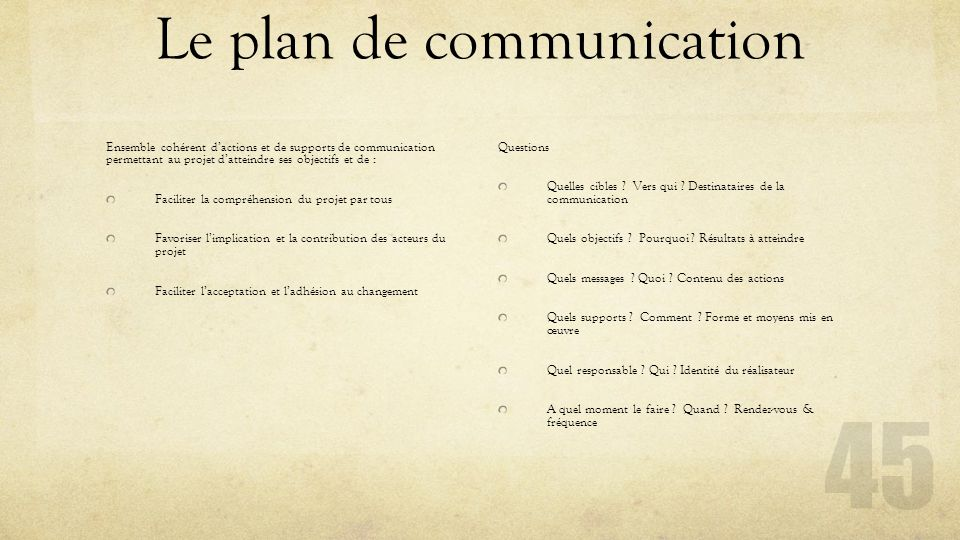 Le plan de communication Ensemble cohérent d'actions et de supports de communication permettant au projet d'atteindre ses objectifs et de : Faciliter
