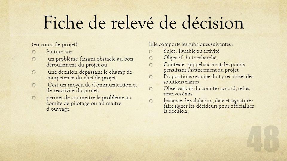 Fiche de relevé de décision (en cours de projet) Statuer sur un problème faisant obstacle au bon déroulement du projet ou une décision dépassant le ch