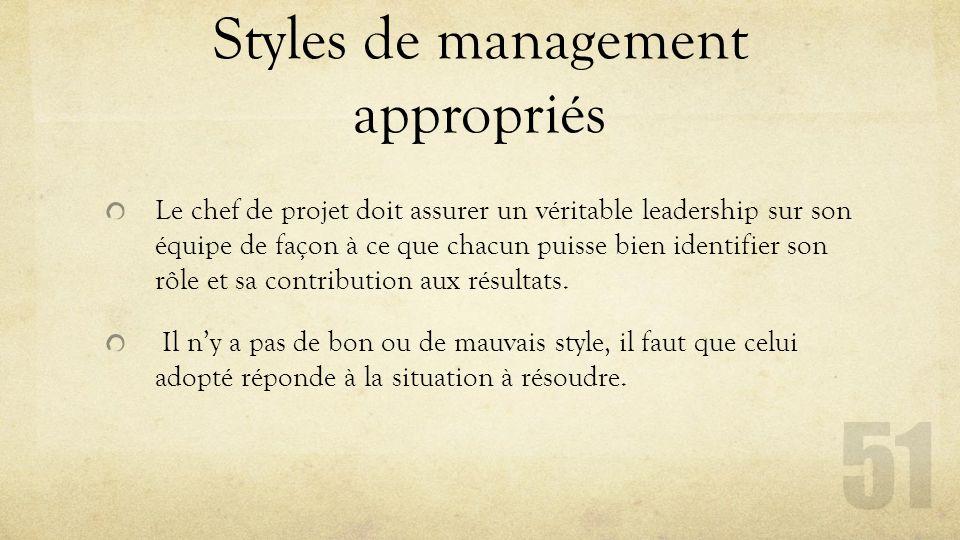 Styles de management appropriés Le chef de projet doit assurer un véritable leadership sur son équipe de façon à ce que chacun puisse bien identifier