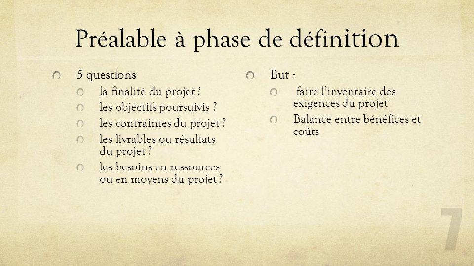 Préalable à phase de défin ition 5 questions la finalité du projet ? les objectifs poursuivis ? les contraintes du projet ? les livrables ou résultats