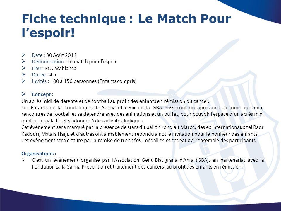 Fiche technique : Le Match Pour l'espoir!  Date : 30 Août 2014  Dénomination : Le match pour l'espoir  Lieu : FC Casablanca  Durée : 4 h  Invités