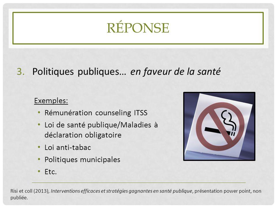 RÉPONSE 3.Politiques publiques… en faveur de la santé Exemples: Rémunération counseling ITSS Loi de santé publique/Maladies à déclaration obligatoire