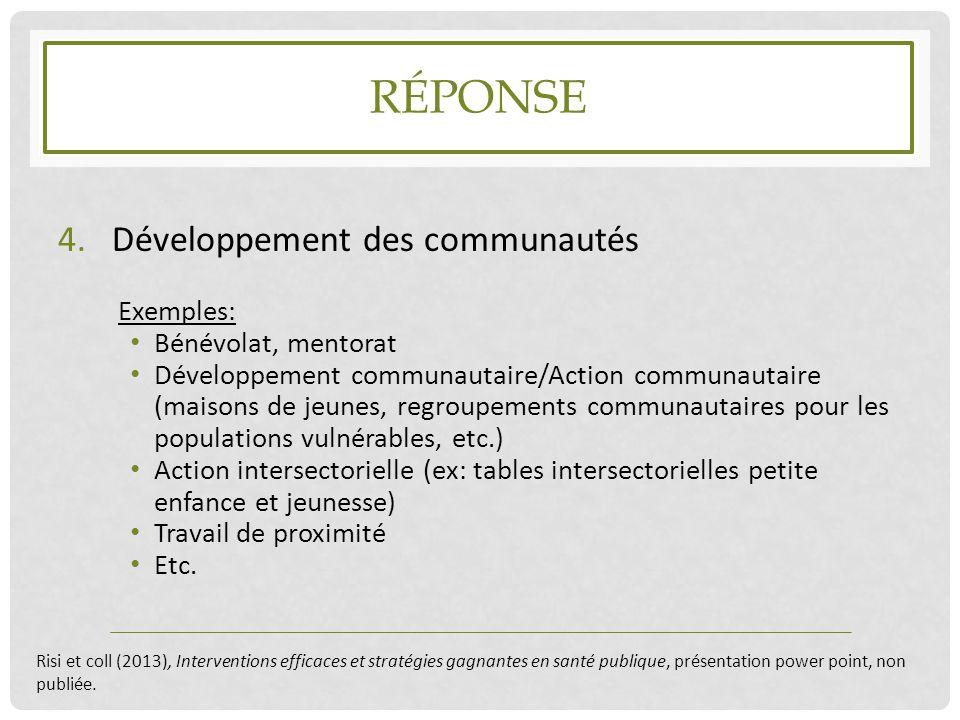RÉPONSE 4.Développement des communautés Exemples: Bénévolat, mentorat Développement communautaire/Action communautaire (maisons de jeunes, regroupemen