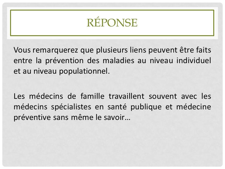 RÉPONSE Vous remarquerez que plusieurs liens peuvent être faits entre la prévention des maladies au niveau individuel et au niveau populationnel. Les