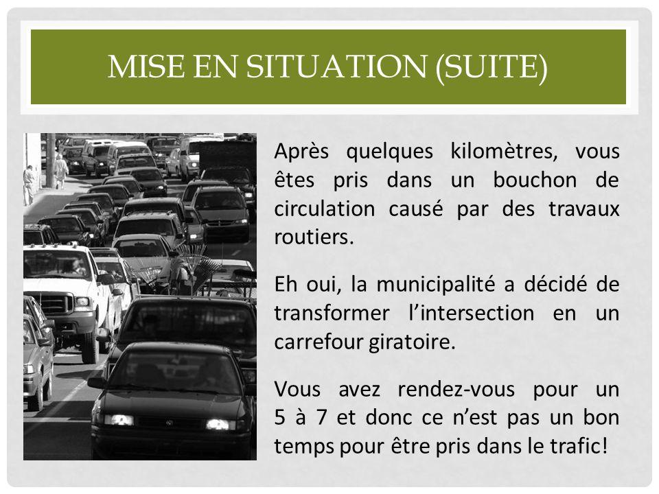 MISE EN SITUATION (SUITE) Après quelques kilomètres, vous êtes pris dans un bouchon de circulation causé par des travaux routiers. Eh oui, la municipa