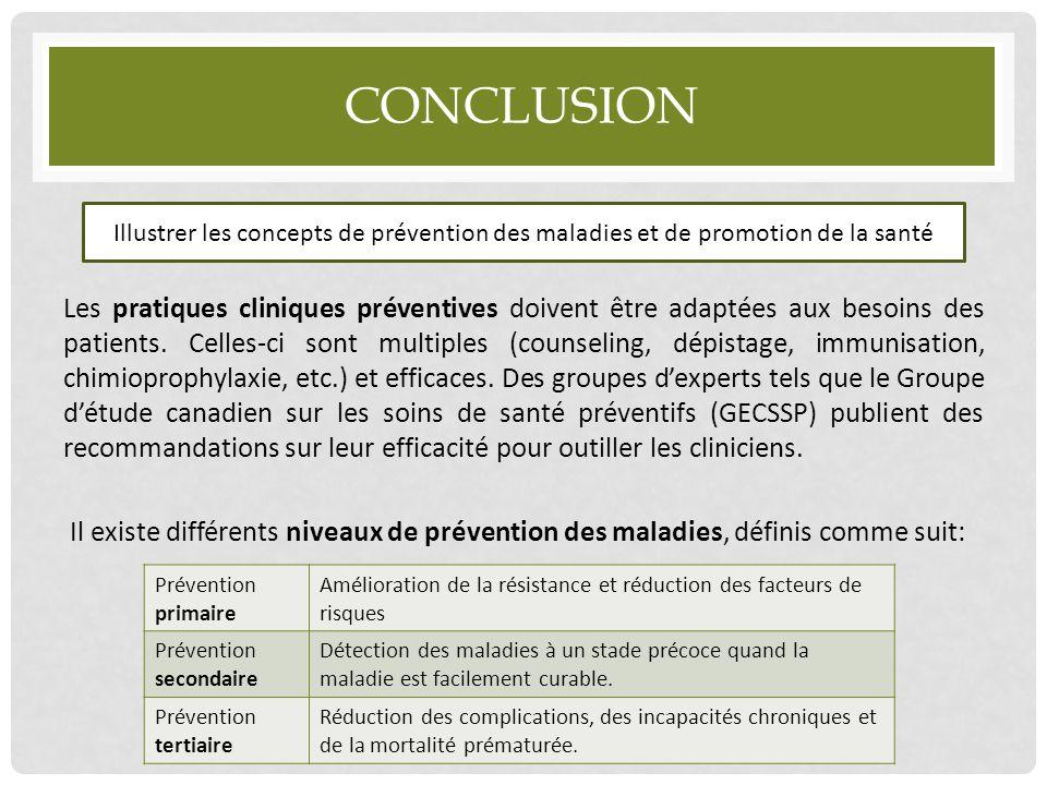 CONCLUSION Les pratiques cliniques préventives doivent être adaptées aux besoins des patients. Celles-ci sont multiples (counseling, dépistage, immuni