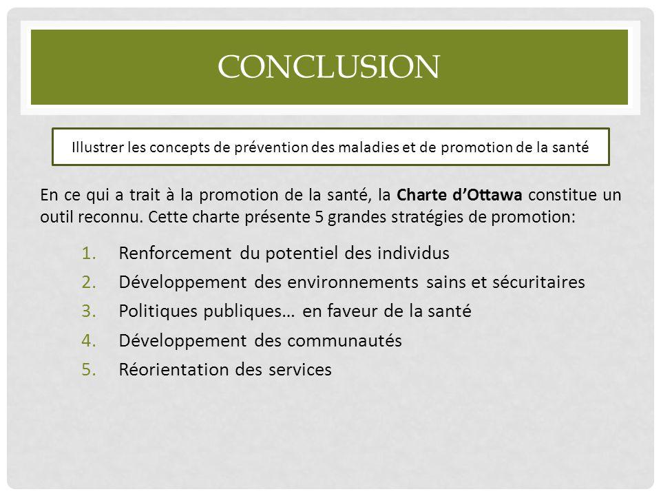 CONCLUSION En ce qui a trait à la promotion de la santé, la Charte d'Ottawa constitue un outil reconnu. Cette charte présente 5 grandes stratégies de
