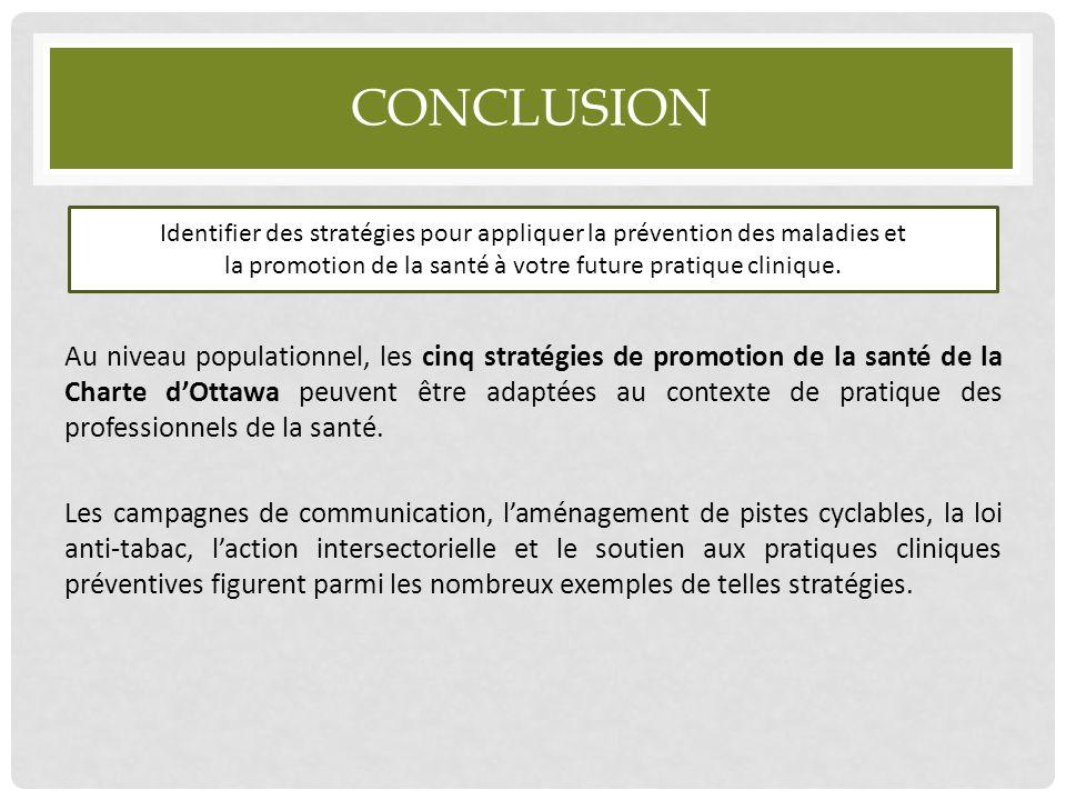 CONCLUSION Au niveau populationnel, les cinq stratégies de promotion de la santé de la Charte d'Ottawa peuvent être adaptées au contexte de pratique d