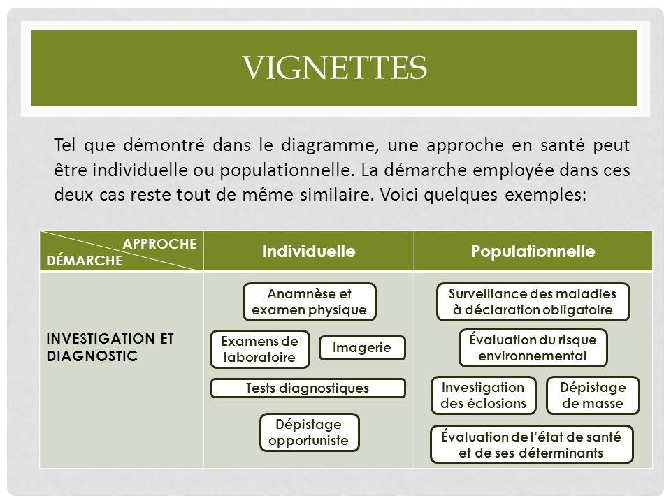 VIGNETTES Tel que démontré dans le diagramme, une approche en santé peut être individuelle ou populationnelle. La démarche employée dans ces deux cas