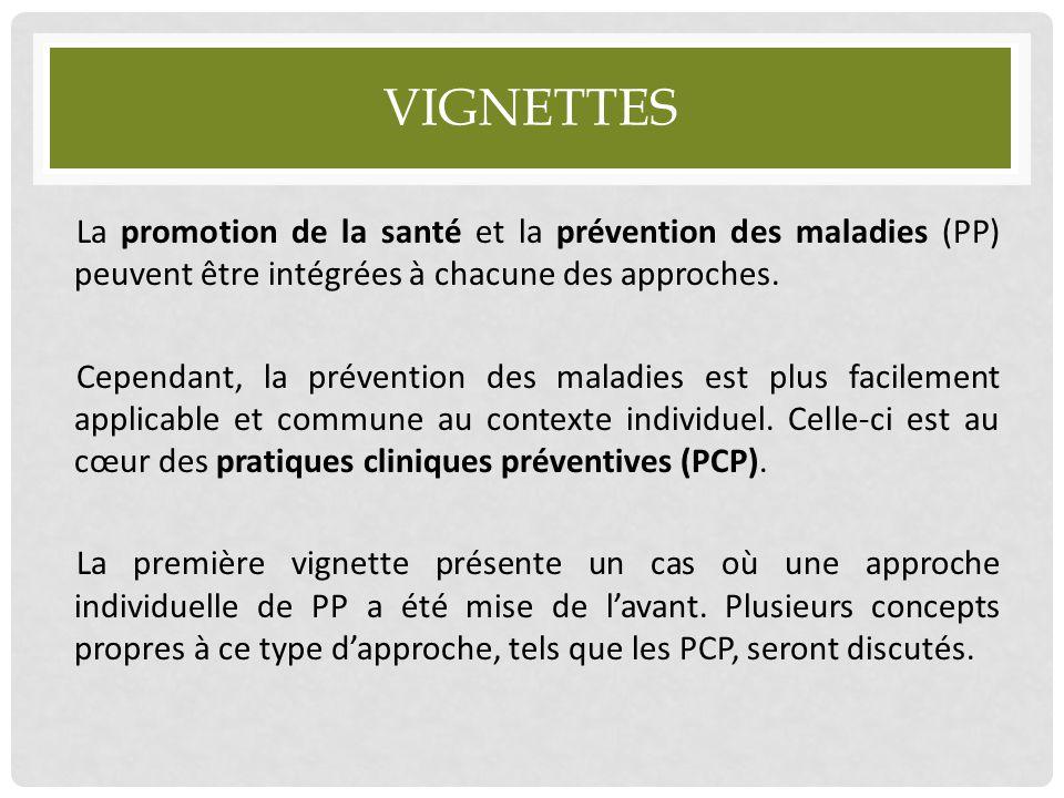 VIGNETTES La promotion de la santé et la prévention des maladies (PP) peuvent être intégrées à chacune des approches. Cependant, la prévention des mal