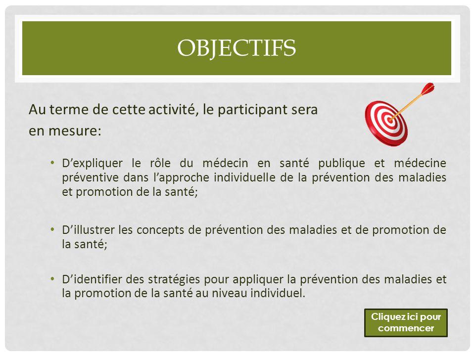 OBJECTIFS Au terme de cette activité, le participant sera en mesure: D'expliquer le rôle du médecin en santé publique et médecine préventive dans l'ap