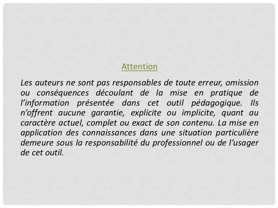Attention Les auteurs ne sont pas responsables de toute erreur, omission ou conséquences découlant de la mise en pratique de l'information présentée d