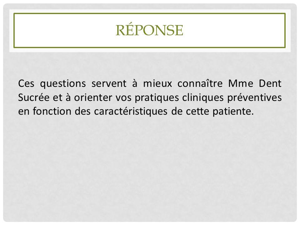 RÉPONSE Ces questions servent à mieux connaître Mme Dent Sucrée et à orienter vos pratiques cliniques préventives en fonction des caractéristiques de