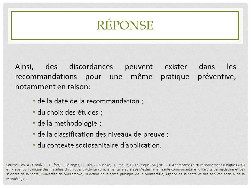 RÉPONSE Ainsi, des discordances peuvent exister dans les recommandations pour une même pratique préventive, notamment en raison: de la date de la reco