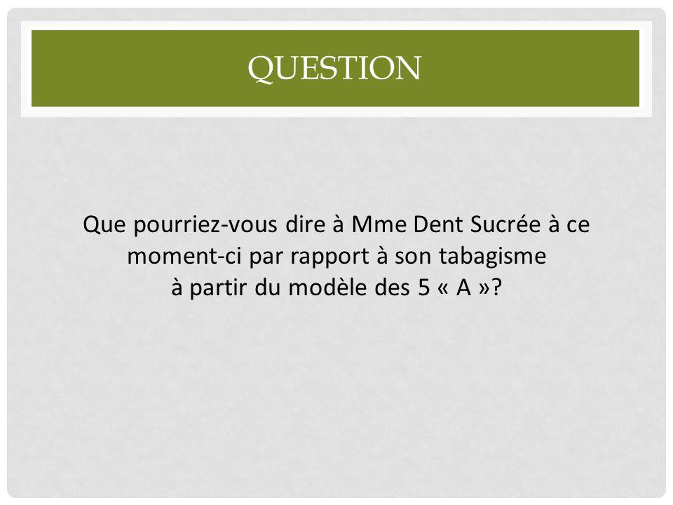 QUESTION Que pourriez-vous dire à Mme Dent Sucrée à ce moment-ci par rapport à son tabagisme à partir du modèle des 5 « A »?