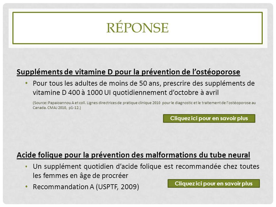 RÉPONSE Suppléments de vitamine D pour la prévention de l'ostéoporose Pour tous les adultes de moins de 50 ans, prescrire des suppléments de vitamine