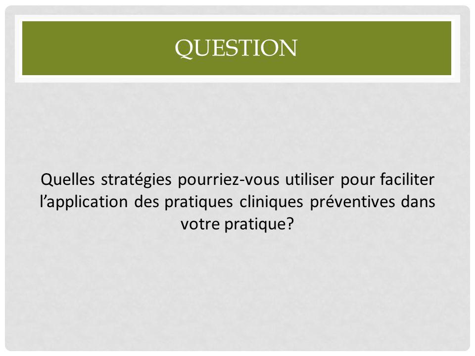 QUESTION Quelles stratégies pourriez-vous utiliser pour faciliter l'application des pratiques cliniques préventives dans votre pratique?