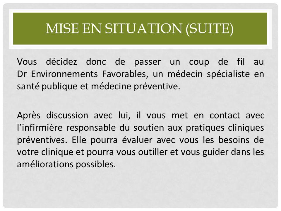 MISE EN SITUATION (SUITE) Vous décidez donc de passer un coup de fil au Dr Environnements Favorables, un médecin spécialiste en santé publique et méde
