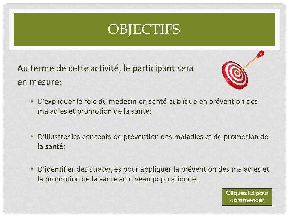 OBJECTIFS Au terme de cette activité, le participant sera en mesure: D'expliquer le rôle du médecin en santé publique en prévention des maladies et pr