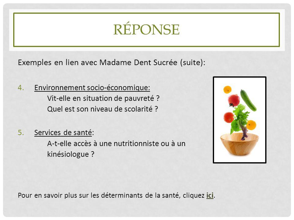 RÉPONSE Exemples en lien avec Madame Dent Sucrée (suite): 4.Environnement socio-économique: Vit-elle en situation de pauvreté ? Quel est son niveau de