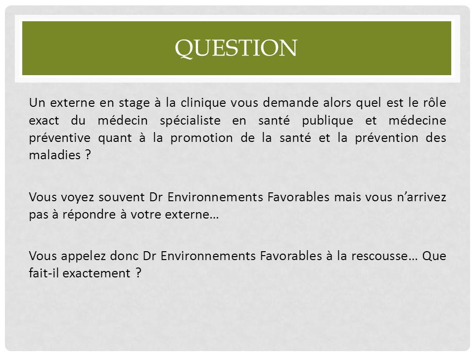 QUESTION Un externe en stage à la clinique vous demande alors quel est le rôle exact du médecin spécialiste en santé publique et médecine préventive q