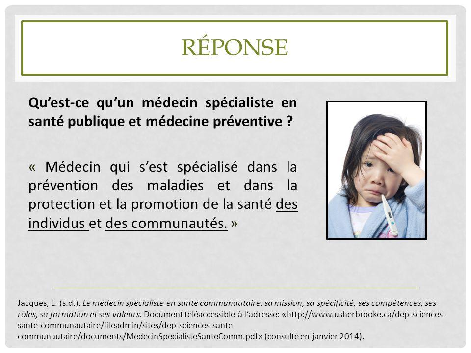 RÉPONSE Qu'est-ce qu'un médecin spécialiste en santé publique et médecine préventive ? « Médecin qui s'est spécialisé dans la prévention des maladies