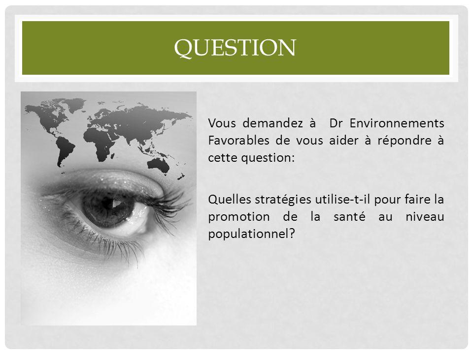 QUESTION Vous demandez à Dr Environnements Favorables de vous aider à répondre à cette question: Quelles stratégies utilise-t-il pour faire la promoti