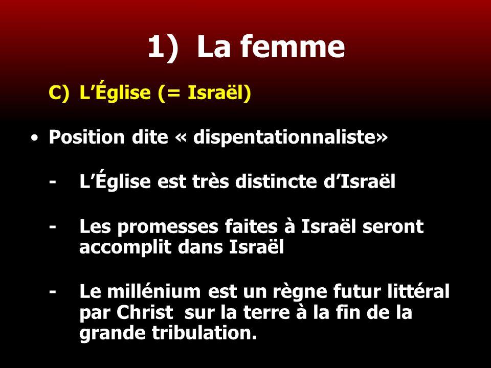 13 1) La femme C)L'Église (= Israël) Position dite « dispentationnaliste» -L'Église est très distincte d'Israël - Les promesses faites à Israël seront