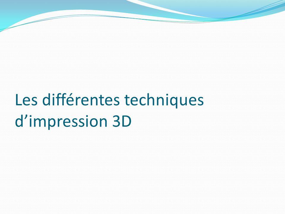 Les différentes techniques d'impression 3D