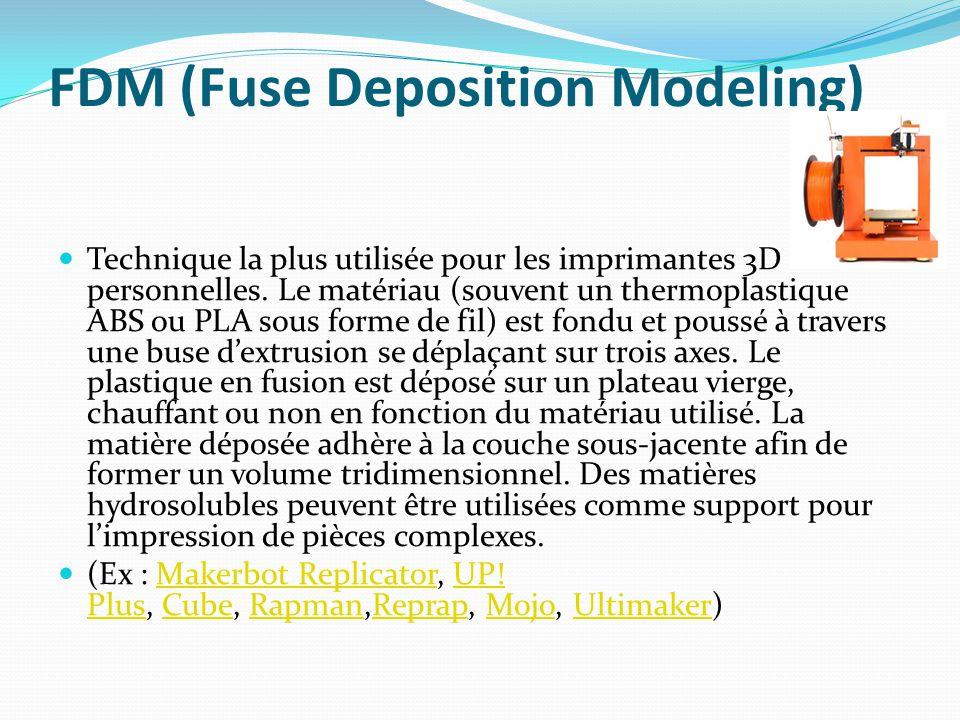 FDM (Fuse Deposition Modeling) Technique la plus utilisée pour les imprimantes 3D personnelles. Le matériau (souvent un thermoplastique ABS ou PLA sou