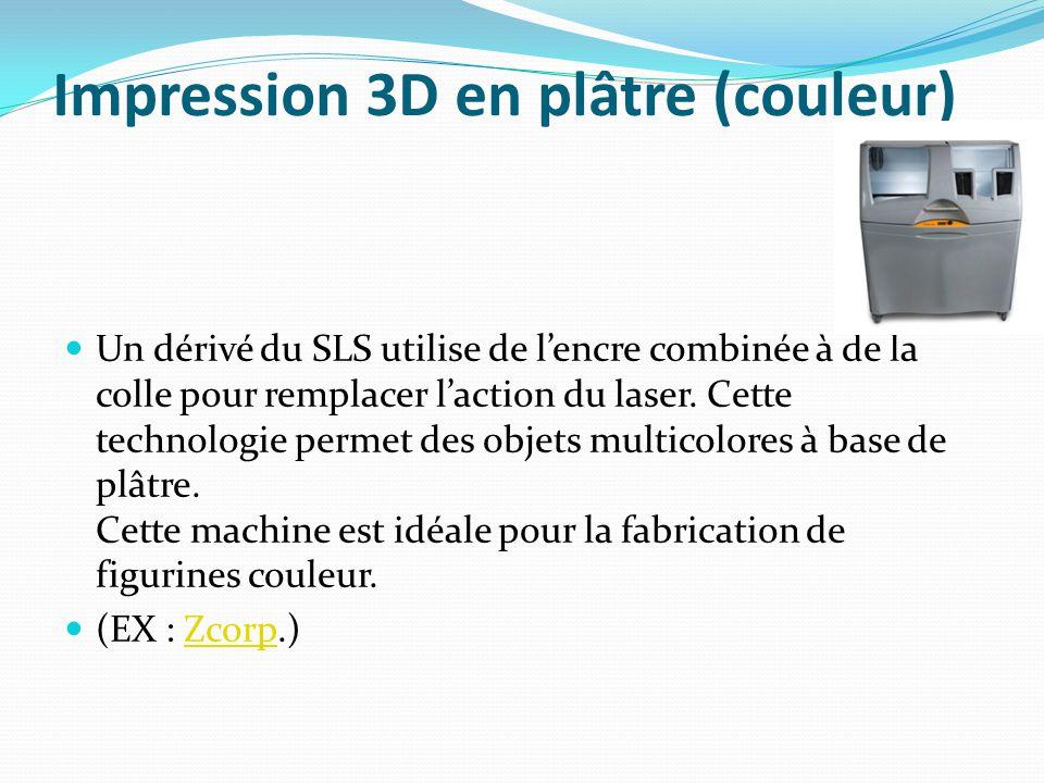 Impression 3D en plâtre (couleur) Un dérivé du SLS utilise de l'encre combinée à de la colle pour remplacer l'action du laser. Cette technologie perme