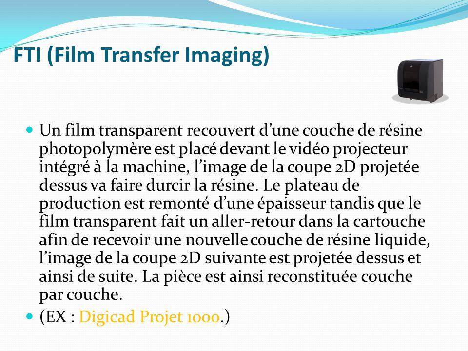 FTI (Film Transfer Imaging) Un film transparent recouvert d'une couche de résine photopolymère est placé devant le vidéo projecteur intégré à la machine, l'image de la coupe 2D projetée dessus va faire durcir la résine.